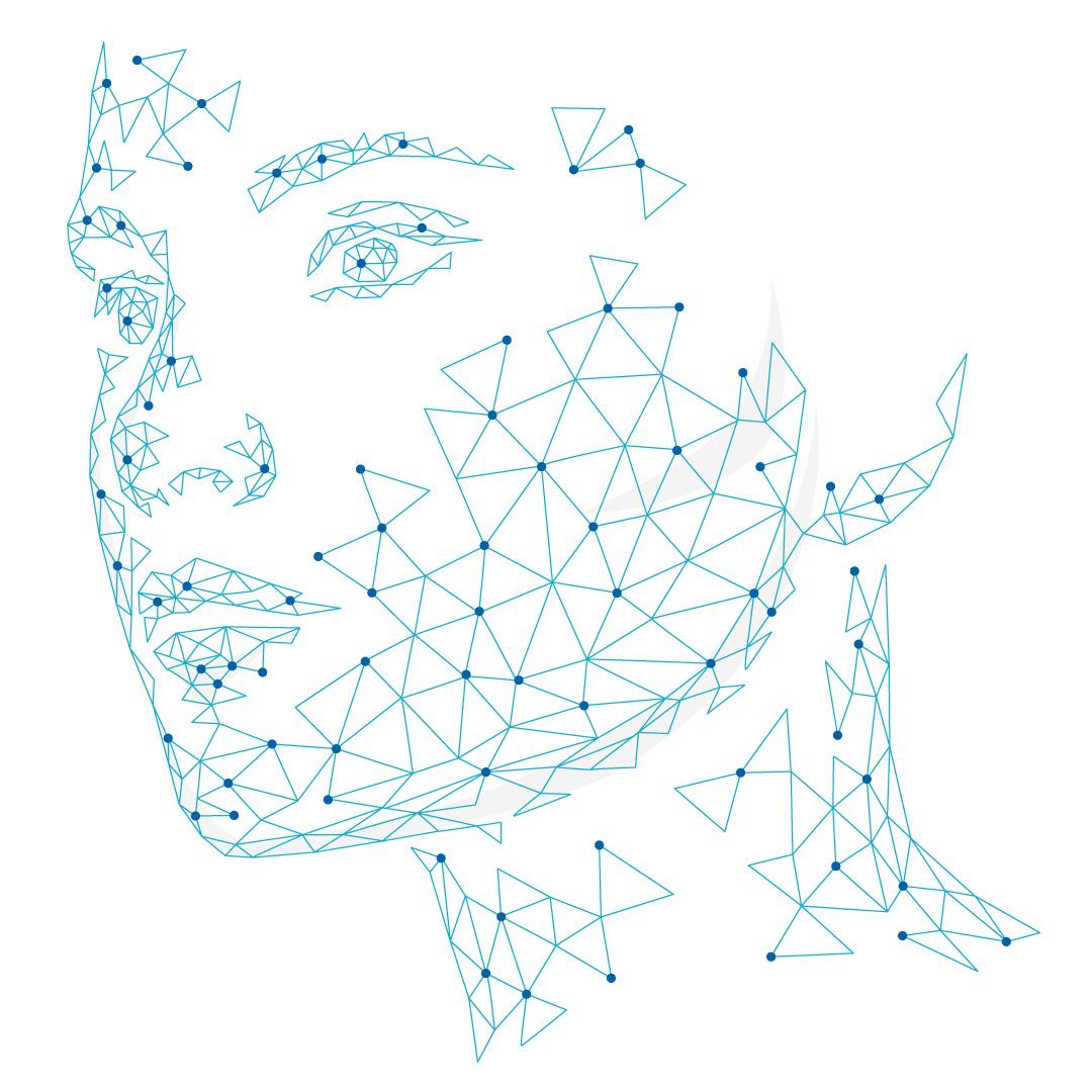 Illustration 3d-scanning punktmoln av ett ansikte
